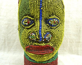 IFE wooden head covered with multicolors glass beads - CAMEROON - Height 25 centimeters
