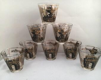 Vintage Barware - Barware - Vintage Cocktail Glasses - Cocktail Glasses - Set of 8 - Black and Gold Barware - France - French Barware - Gold