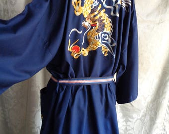 Vintage kimono embroidered Chinese dragon blue robe