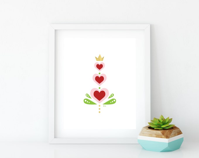 Red Hearts Art Print, Instant Digital Download