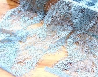 Lace trimming, blue fog Lace Trim, fog blue Lace, Chantilly Lace, Bridal gown lace, Wedding Lace,Evening dress lace, Lingerie Lace