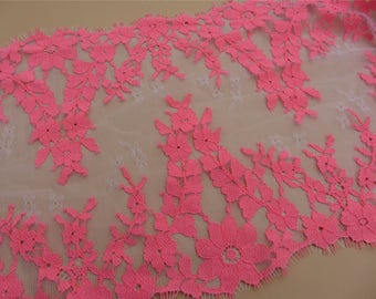 1meter Skirts lace fabric, Lace trimming,pink  French Chantilly Lace ,Exquisite Eyelash Lace Trim,Wedding lace fabric