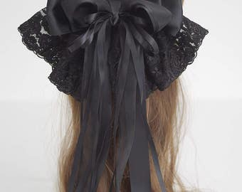 French Lace Fabric Oversized Hair Bow Barrette, Gwyneth - black lace bow, large bow, hair accessory