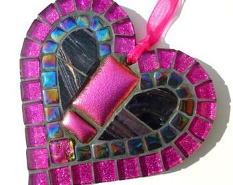 Hot pink mosaic, bright pink heart, shocking pink decor, hot pink wall art, black pink glitter, hot pink decor, pink glitter gift, funky hot