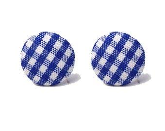 "Handmade ""Gingham Gal"" Dark Blue Gingham Print Fabric Button Earrings 5/8"""
