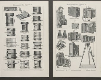 1897 Lot of 2 antique prints of PHOTOGRAPHY. PHOTO CAMERAS and other photo apparates, lens... Photography. 120 years old lithographs