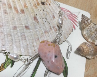 SALE**Pink Ocean Jasper with Freshwater Pearls//Sterling Silver Wire and Chain//Mermaid Necklace//Healing Crystals//Double Sided Necklace