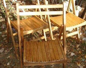 vintage wooden folding chairs / set 3 folding chairs / wood patio chairs /folding garden chair/