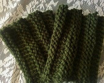 Hunter Dark Olive Green Ribbed Knit Boot Cuffs