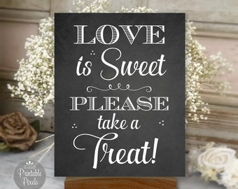 Love Is Sweet, Printable Dessert Table Sign, Chalkboard Style, Dessert Bar, Wedding, Party (#DES3C)