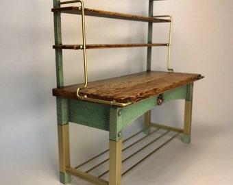 Copper legged bakers rack