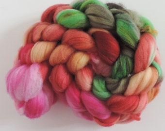merino nylon,Rainbow No.301, Sock blend top,handpainted fiber for spinning,ca.3,5oz