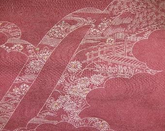 "13.9""w. x 32.4""l. Vintage kimono silk fabric rouge and white flower 2830L"