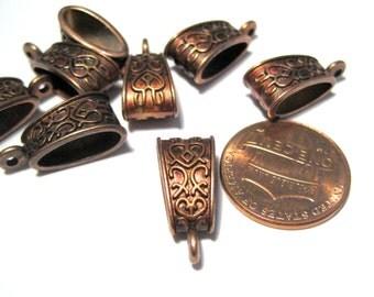 10pcs Antique Red Copper Bail Charms Pendants 19x9mm