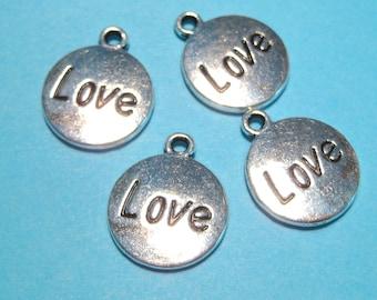 "10pcs Antique Silver Round Charms Pendants  Message Pattern ""Love"" 18x15mm"