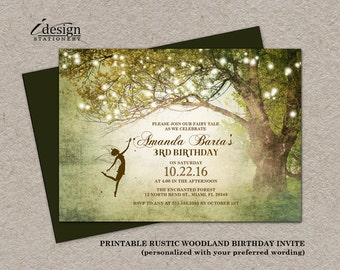 Fairy Tale Birthday Invitation With String Lights | Enchanted DIY Printable Woodland Fairytale Outdoor Backyard Party Or Event Invitations