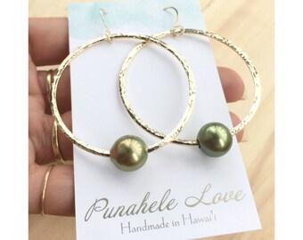 READY TO SHIP - Pistachio Tahitian Pearl Hoop Earrings - Tahitian Pearl Hoop Earrings - Gold Pistachio Tahitian Pearl Hoop Earrings