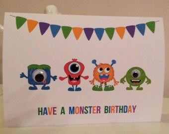 3D Personalised Lil Monsters Birthday Card,Personalized Lil Monsters Birthday Card - Son, Daughter, Niece, Nephew, Grandson, Granddaughter