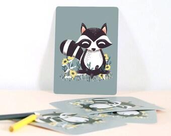 Card - Les Animignons :  the Raccoon