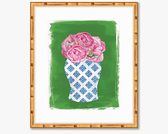 Chinoiserie Vase with Pink Peonies -- Watercolor Print -- Home Decor