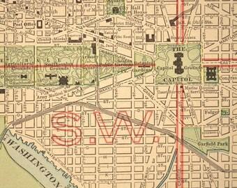 Washington DC Map Washington LARGE Street Map Antique D C
