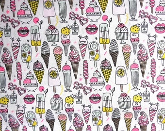 Fabric - Rico - Neon pink and white icecream print - woven cotton