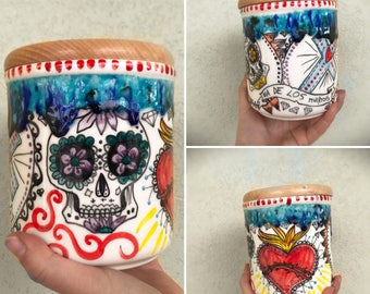 ceramic jar with wooden lid mexican inspired made to order