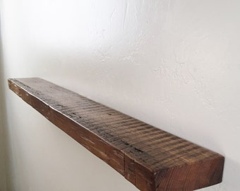 """48"""" x 2"""" x 5"""" deep Reclaimed floating shelf, Pine, antique, unique, 1800's, Industrial, old growth"""