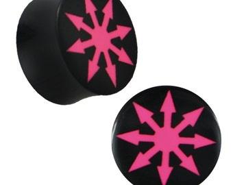 Plug Horn pink engraved black circular arrows piercing handwritten (No. HOP-125)