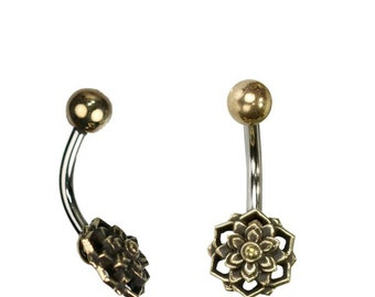 Belly button piercing brass stainless steel antique golden silver 3D flower (No. BNP-186)