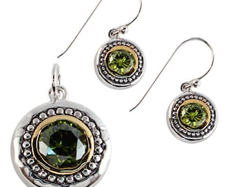 Jewelry set circle cubic zirconia gold plated gold green earrings 925 Silver Pendant (art-No. AG-10)
