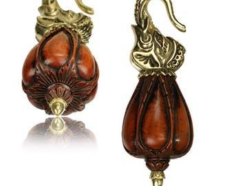 Ear weights piercing elephant Sawoholz golden antique brass drops 67 g (art-No. HP-91)