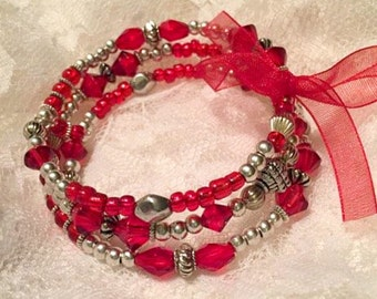 Red Silver Memory Wire Bracelet Bangle Valentine