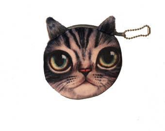 Gray eyes cat wallet Green