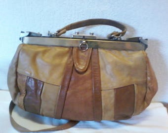 Original handbag vintage leather (patch) hand-worn type doctor bag