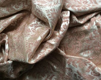 Vintage Pair of peach satin brocade curtains. W 44 in Drop 69 in unlined, cotton mix.