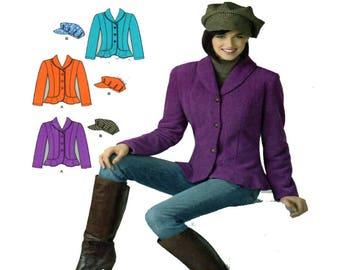 Simplicity 2309, Women, Blazer, Sewing Pattern, Shawl Collar, Flounce Hem, Fitted Jacket, Newspaper Hat, Plus Size 8-10-12-14-16-18, UNCUT