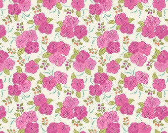 Island Girl - Pink Hibiscus 192-3 by Lewis & Irene Fabrics Cotton Fabric Yardage