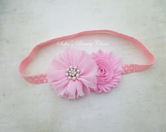Easter headband baby, Pink headband, Easter headband, Easter baby headband, Pink white headband, Pink flower headband, Girls headband easter