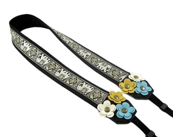 DSLR Camera Strap. Floral Camera Strap. Cute Camera Strap - Black and White Elephant Fabric With Leather Flowers
