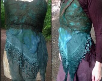 The 'Aldora' Elven Goddess Nuno Felted Top, Pixie Vest, Elven Wear, Wood Nymph, Forest Maiden, LARP Cosplay Fantasy Costume Faerie Realm