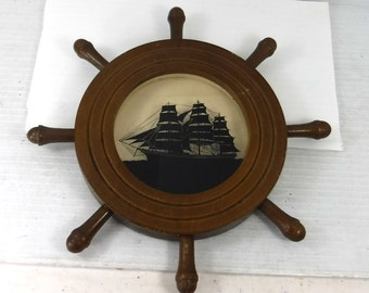C&A Richards Silhouette of the Yankee Clipper in Ships Wheel Frame No. 5043