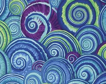 1/2 Yard Spiral Shells in Blue Philip Jacobs  fabric  PJ073