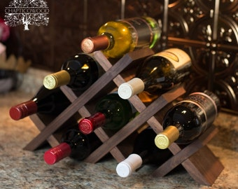 Tabletop Wine Rack in Solid Walnut - 8 & 13 Bottle Versions