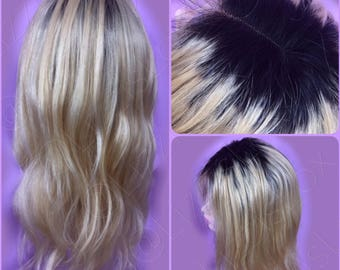 LACE FRONT WIG 100% Remy Human Hair Blonde with Black ombre shadow root