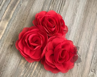 WHOLESALE 10 Red Rose Blossoms headband flowers bulk fabric flowers bulk  wholesale, headbands, hair clips