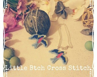 Swallow Necklace, Cross Stitch Swallow Necklace, Bird Necklace, Rockabilly Necklace, Swallow Jewellery, Swallow Jewelry, Bird Jewellery