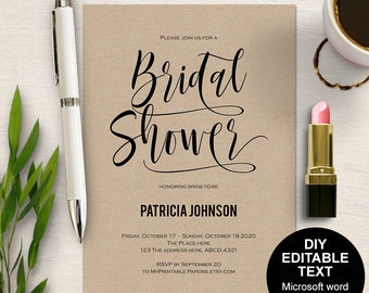 Printable bridal shower invitation, Bridal shower invitation, Bridal shower invites, modern bridal shower, simple, DIY, printable, Modern