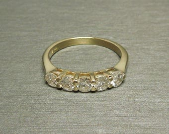 vintage estate c1960 14k yellow gold 100tcw g vs si round brilliant cut diamond five - Stackable Wedding Rings