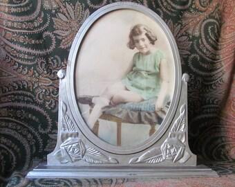 Art Deco Swing Frame - Art Deco Photo Frame -  Hand Tinted Studio Portrait of little Girl from the 1920s - Tilt Picture Frame - French Decor